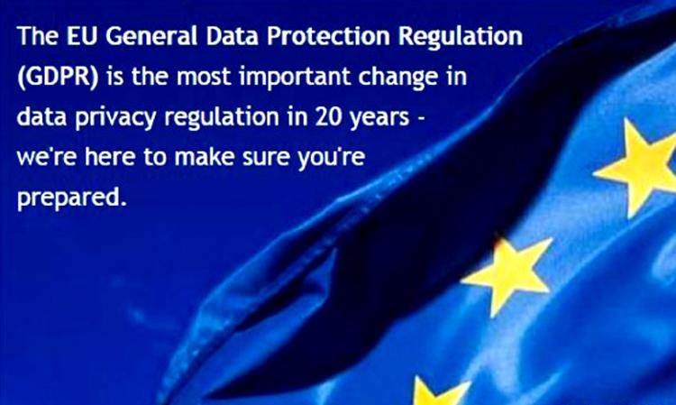 GDPR message on an EU flag